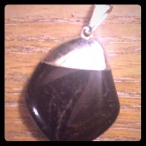 Vintage sterling silver and precious stone pendant